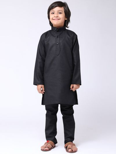 Sojanya (Since 1958), Kids Cotton Linen Black Kurta With Churidaar Pyjama Set