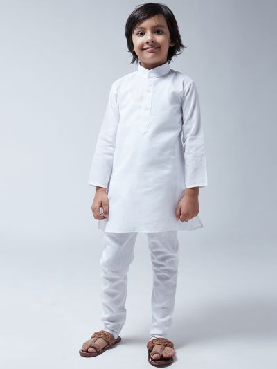 Sojanya (Since 1958), Kids Cotton Linen White Kurta With Churidaar Pyjama Set