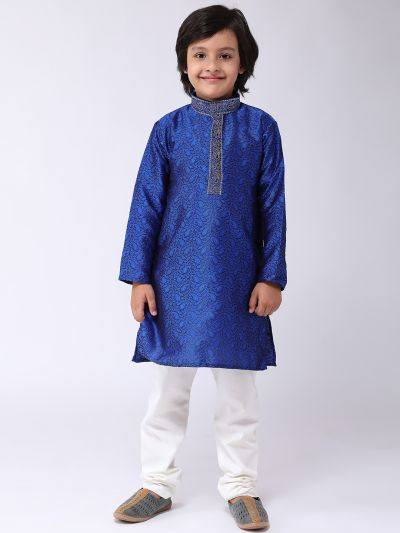 Sojanya (Since 1958), Kids Jacquard Silk Blue Kurta & Off White Churidar Pyjama set