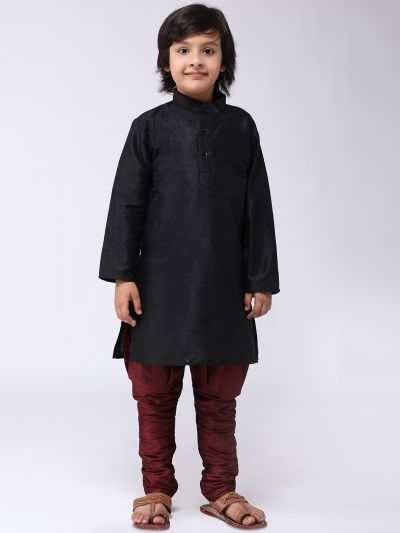 Sojanya (Since 1958), Kids Silk Black Kurta& Maroon Balloon Pant Set