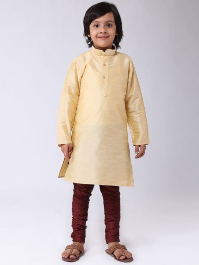 Sojanya (Since 1958), Kids Silk Gold Kurta & Maroon Balloon Pant Set