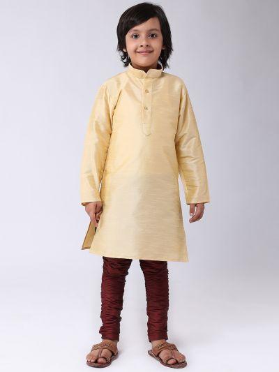 Sojanya (Since 1958), Kids Silk Gold Kurta & Maroon Balloon Pant Set