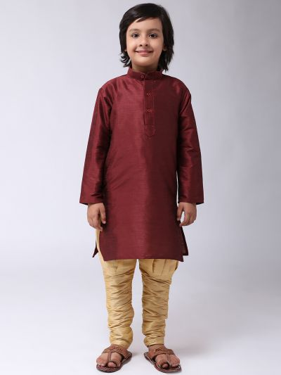 Sojanya (Since 1958), Kids Silk Maroon Kurta & Gold Balloon Pant Set