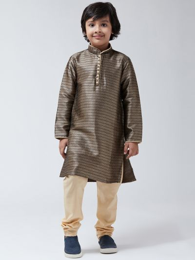 Sojanya (Since 1958), Kids Silk Blend Black Kurta & Beige Churidar Pyjama set