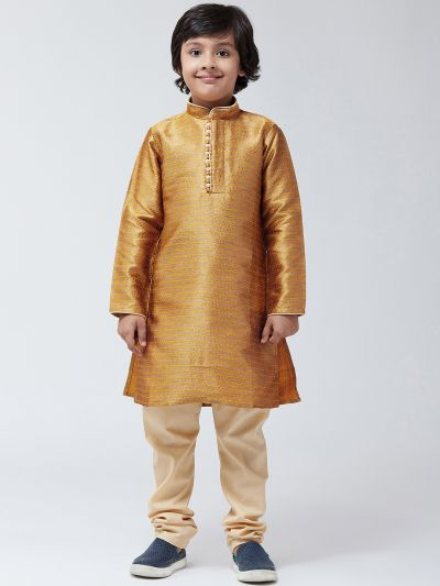 Sojanya (Since 1958), Kids Silk Blend Mustard Kurta & Beige Churidar Pyjama set