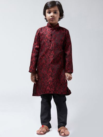 Sojanya-(Since 1958),Kids Silk Blend Maroon Kurta & Black Churidar Pyjama set