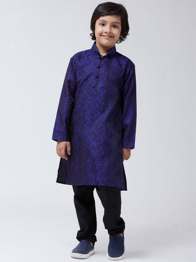 Sojanya (Since 1958), Kids Silk Blend Royal Blue Kurta & Black Churidar Pyjama set
