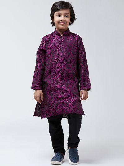 Sojanya-(Since 1958), Kids Silk Blend Purple Kurta & Black Churidar Pyjama set
