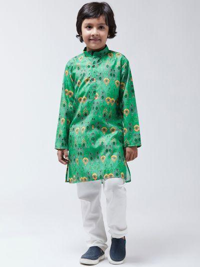 Sojanya(Since-1958), Kids Cotton Blend Green Kurta & Off-White Churidar Pyjama set