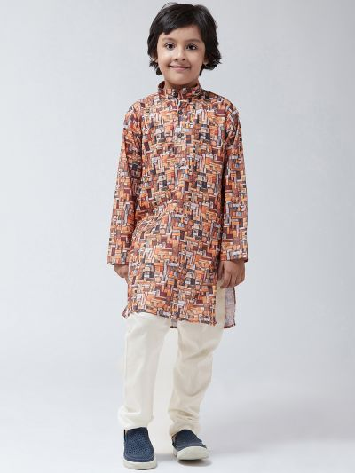 Sojanya (Since 1958), Kids Cotton Blend Orange Print Kurta & Off-White Churidar Pyjama set