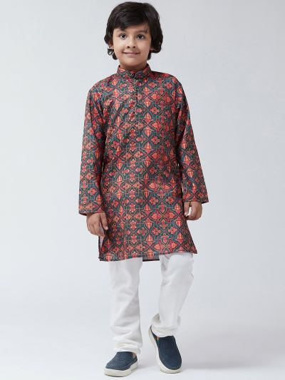 Sojanya (Since 1958), Kids Cotton Blend Green Print Kurta & Off-White Churidar Pyjama set