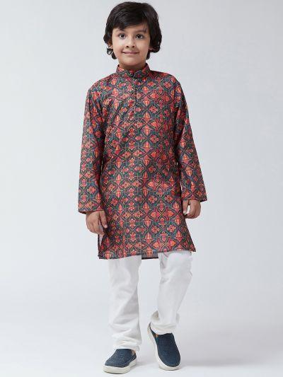 Sojanya (Since 1958), Kids Cotton Blend Green Print Kurta & Off-White Churidar Pyjama set