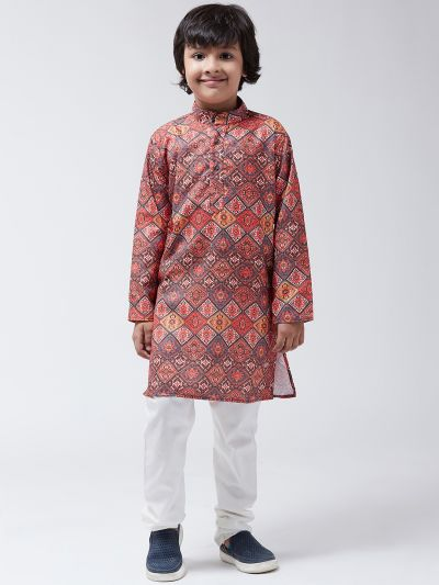 Sojanya (Since 1958), Kids Cotton Blend Multi Print Kurta & Off-White Churidar Pyjama set