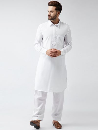 Sojanya (Since 1958), Cotton White Pathani Kurta Salwar Set