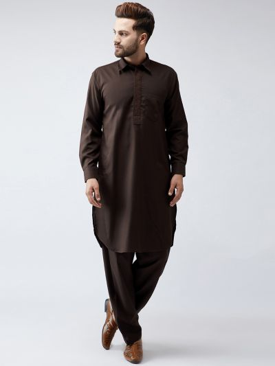 Sojanya (Since 1958), Cotton Dark Brown Pathani Kurta Salwar Set