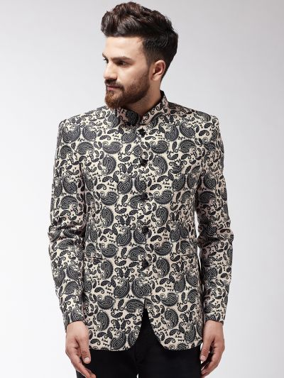 Sojanya (Since 1958) Men's Black & Off-White Printed Blazer