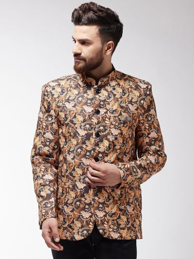 Sojanya (Since 1958) Men's Brown Floral Printed Blazer blazer