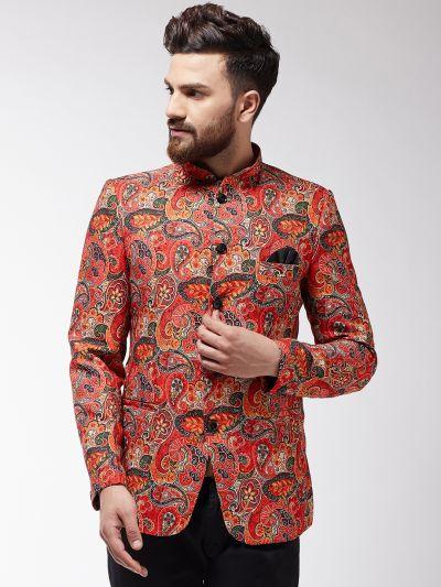 Sojanya (Since 1958) Men's Orange Printed Blazer
