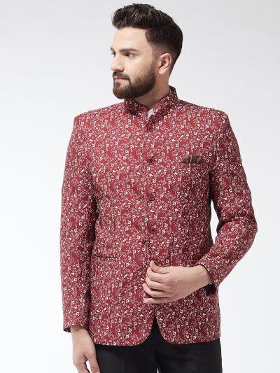 Sojanya (Since 1958) Men's Cotton Blend Rust & Beige Printed Blazer blzer