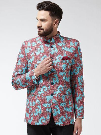 Sojanya (Since 1958) Men's Cotton Blend Rust & Beige Printed Blazer blazer