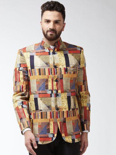 Sojanya (Since 1958) Men's Cotton Blend Rust & Beige Printed Blazer