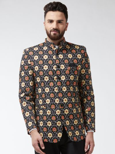 Sojanya (Since 1958) Men's Cotton Blend Rust & Beige Printed Blazer blaze