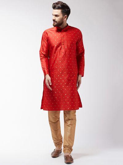 Sojanya (Since 1958) Men's Silk Blend Maroon Kurta & Gold Churidar Pyjama Set