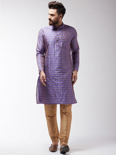 Sojanya (Since 1958) Men's Silk Blend Purple Checked Kurta & Gold Churidar Pyjama Set