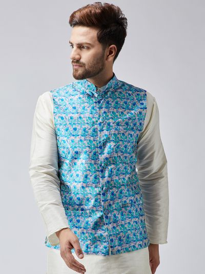 Sojanya (Since 1958) Sky Blue Printed Nehru Jacket