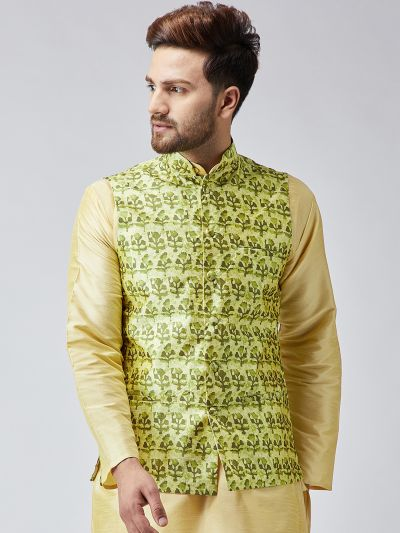 Sojanya (Since 1958) Lime Green Printed Nehru Jacket