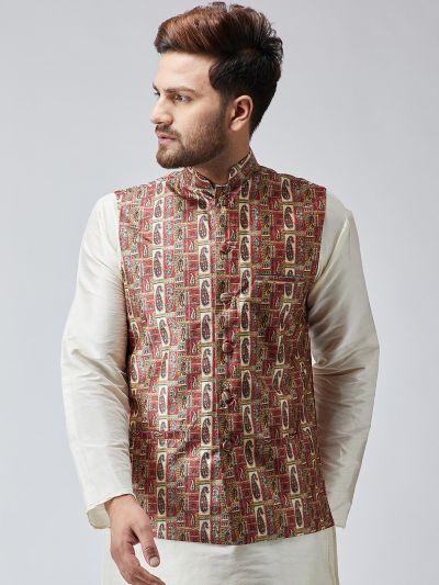 Sojanya (Since 1958) Maroon Printed Nehru Jacket