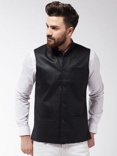Sojanya (Since 1958) Men's Jute Cotton Black ONLY Nehrujacket