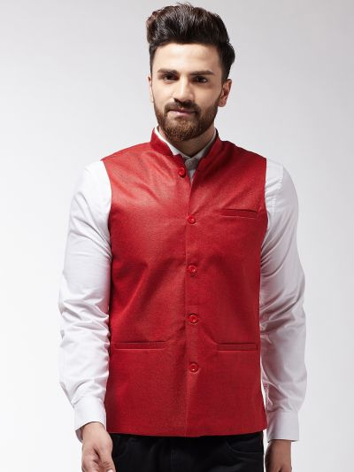 Sojanya (Since 1958) Men's Jute Cotton Red ONLY Nehrujacket