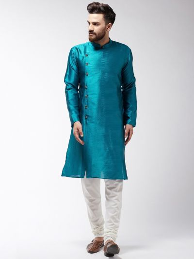 Sojanya (Since 1958) Men's Silk Blend Peacock Blue Kurta & Off-White Churidar Pyjama Set