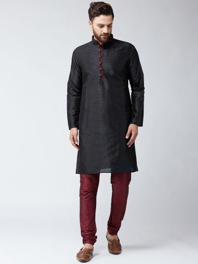 Sojanya (Since 1958),Silk Black Kurta and Maroon Pyjama Set
