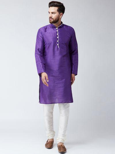 Sojanya (Since 1958),Silk Purple Kurta and Off White Pyjama Set