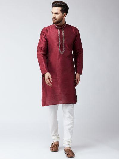 Sojanya (Since 1958),Silk Maroon Kurta and Off White Pyjama Set