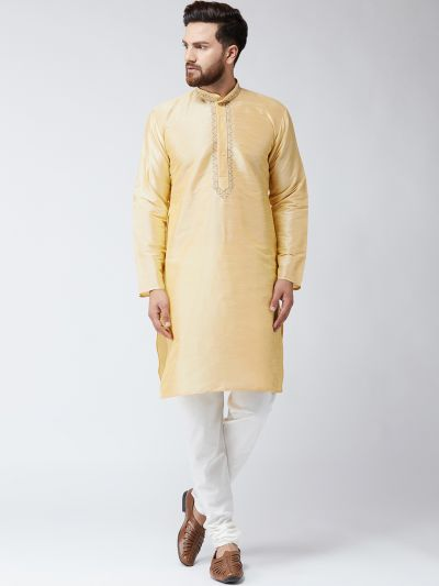 Sojanya (Since 1958),Silk Gold Kurta and Off White Pyjama Set