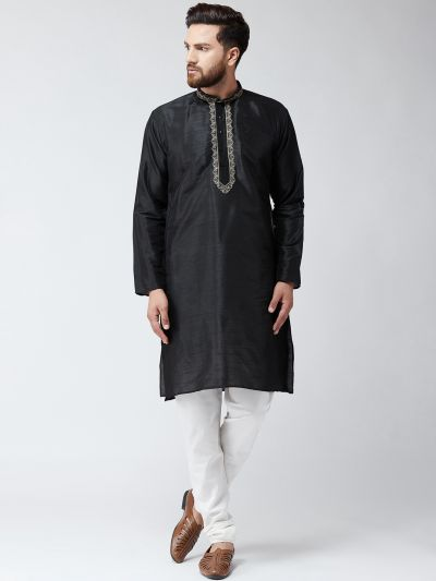 Sojanya (Since 1958),Silk Black Kurta and Off White Pyjama Set