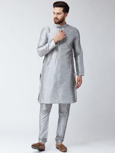 Sojanya (Since 1958), Mens Grey Dupion Silk ONLY Long Kurta