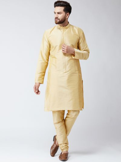 Sojanya (Since 1958), Mens Gold Dupion Silk ONLY Long Kurta