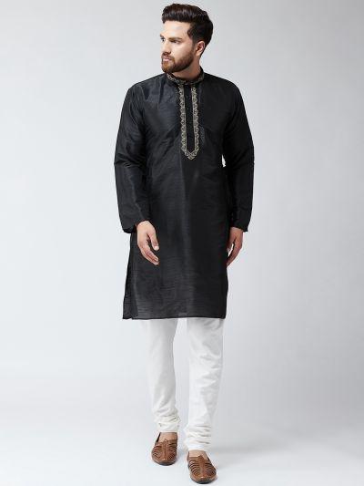 Sojanya (Since 1958), Mens Black Dupion Silk ONLY Long Kurta