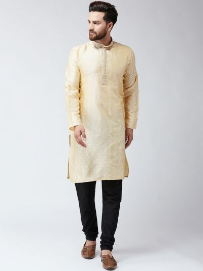 Sojanya (Since 1958), Mens Gold Self Design ONLY Long Kurta
