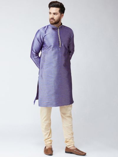 Sojanya (Since 1958), Mens Blue Jacquard Silk ONLY Long Kurta