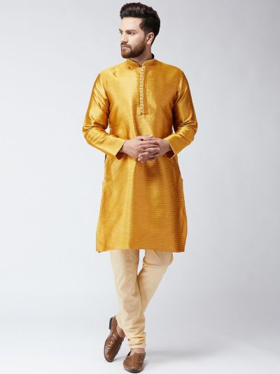 Sojanya (Since 1958), Mens Mustard Jacquard Silk ONLY Long Kurta
