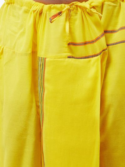 Sojanya (Since 1958) Men's Pure Cotton Light Yellow Stitched Dhoti