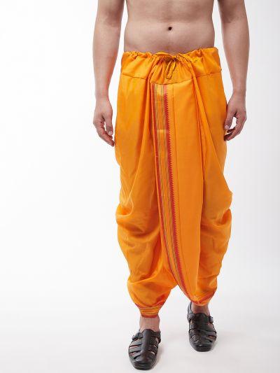 Sojanya (Since 1958) Men's Cotton Blend Mustard Stitched Dhoti