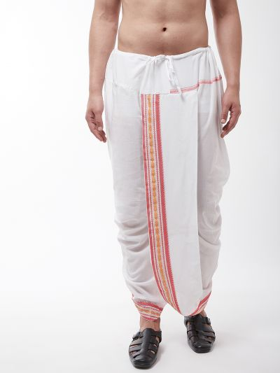 Sojanya (Since 1958) Men's Cotton Blend White Stitched Dhoti