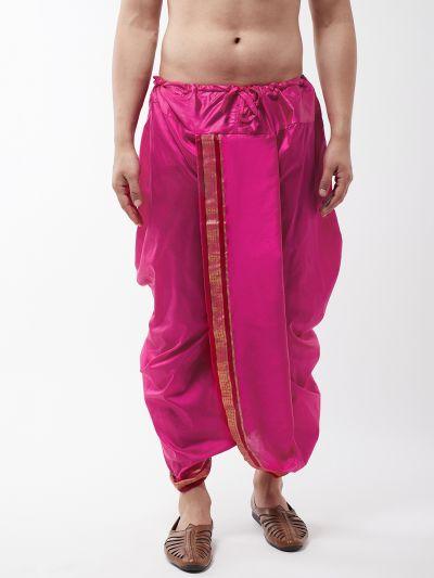 Sojanya (Since 1958) Men's Silk Blend Magenta Stitched Dhoti