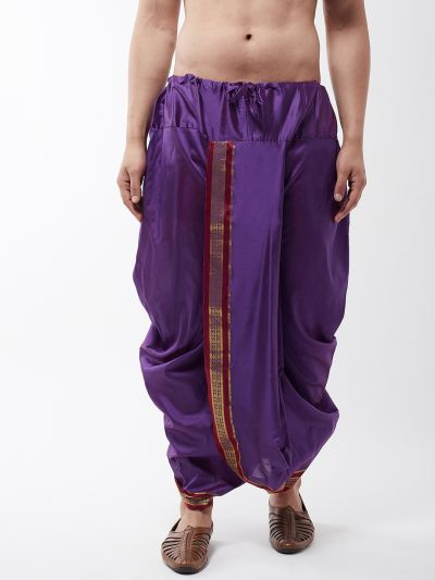 Sojanya (Since 1958) Men's Silk Blend Purple Stitched Dhoti